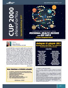 CUP 2000 eNewsForYou – Speciale Workshop Internazionale eHealth 2017